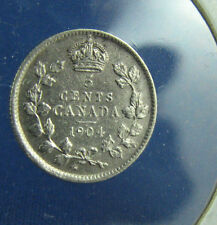 Canada 1904 5 cents very nice coin high grade circulated AU some spots corroded