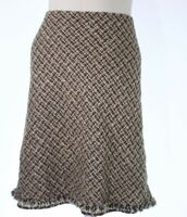 Nine West Womens  Knee Length Casual Animal Print Brown Flare Skirt Size 10