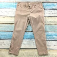 Ann Taylor Loft Womens Pants size 14 Pink Beige Slim Skinny Ankle Cotton Stretch