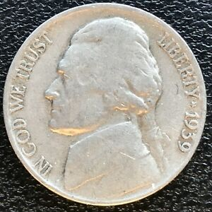 USA 1939 D Jefferson Nickel 5 Cent Denver Selten #14529