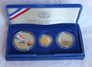 1986 US Mint Liberty Coins 1886-1986 3 Coin Set proof gold/silver