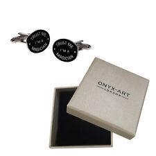 Mens Black Oval 'Trust Me Im A Magician' Cufflinks & Gift Box - By Onyx Art