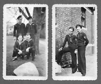 Lot of 2 VTG 1940s Photos Snapshots HANDSOME SAILORS MARINES POSING