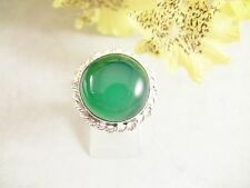 Women;s Ring Size 8.75 Green Onyx Gemstone Sterling Over Copper Handmade Jewelry
