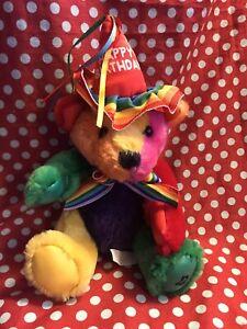 First & Main Rainbow Happy Birthday Plush Teddy Stuffed Bear. Pride Bear.