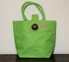 WOMAN'S JUTE HANDBAG BUTTON LIME GREEN SUMMER BEACH ROYAL STANDARD TOTE MEDIUM