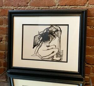Vintage Mid Century Modern Nude Female Original Drawing Ink Painting Signed 1977