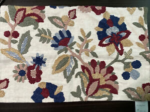 POTTERY BARN  Aviva Floral Lumbar Embroidered  pillow Cover 16x26 Blue Burgundy
