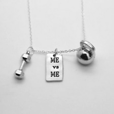 ME VS ME FITNESS NECKLACE - Kettlebell Gym Dumbbell Charm Crossfit Jewelry Lift