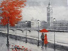 ROMANTIQUE NOIR BLANC ROUGE LONDON CITY grande peinture à l'Huile Toile Art Original