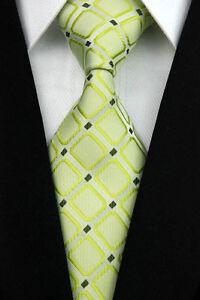 Light Green Woven 100% Pure Silk Neck Tie with Bright Green  Diamond Pattern
