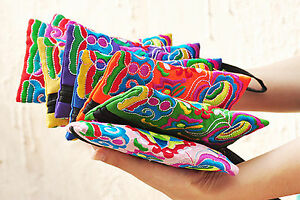 Women Cotton Bohemia Embroidery Coin Card phone case Bag Evening Handbag Wallet