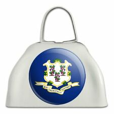 Connecticut State Flag White Metal Cowbell Cow Bell Instrument