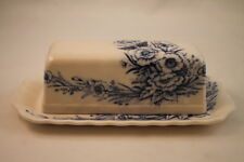 Queen's Rose N Blue Flowers Butter Dish Japan Floral Flued 2 Piece Cover & Plate
