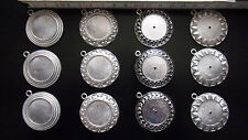 12x Fassung Rohling Anhänger Öse Brosche Cabochon Glasstein DIY Schmuck basteln