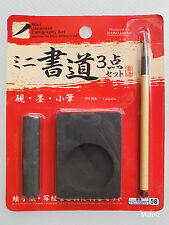 Daiso Japan Mini calligraphie japonaise Set, encre de Pierre, INK STICK & Writing Brush