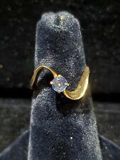 14kt Yellow Gold Ladies Round Aquamarine Ring **