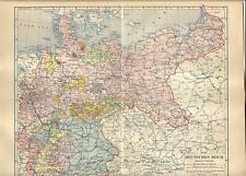 Carta geografica antica GERMANIA DEUTSCHES REICH 1890 Old antique map