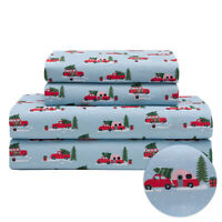 Holiday Microfiber Bedding Sheet Set Christmas Tree Truck Red White, and Blue