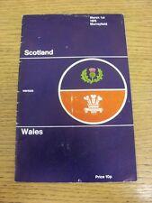 Programa de Unión de Rugby 01/03/1975: Escocia Gales en Murrayfield V [] (plegado). Bo