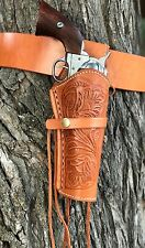 Embossed TAN  Leather Holster and Belt Hand Tooled Embossed Leather Set 70201