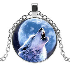 Collier Pendentif Loup Hurlant Nuit Lune, Acier argenté