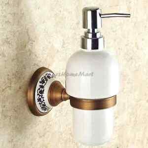 Antique Brass Hand Washing Liquid Soap Dispenser Ceramic Bottle Wall Mounted