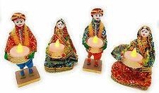 4 PCs Handmade Rajasthani Puppet Tealight Candle Holders/Diya/Gift for Christmas