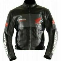 HONDA BLACK MOTORBIKE TRACK DAYS COWHIDE LEATHER CE PROTECTED ARMOURED JACKET