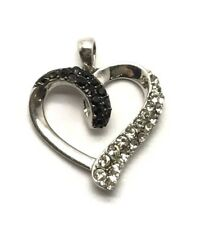 Sterling Silver 925 Black Onyx - CZ Pave Swirl Wave Curved Love Heart Pendant