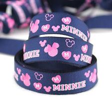 "Disney 5 Yards 5/8""16mm printed Minnie Mouse Grosgrain Ribbon"