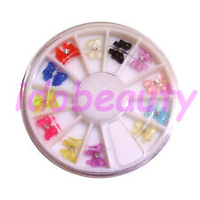 BOW TIE  WITH GEM IN WHEEL NAIL ART DECO DESIGN CRAFT NAILS 12 GEMS