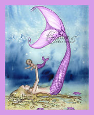 PLAY Purple Mermaid Baby Print from Original Painting By  Camille Grimshaw