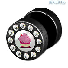 MUFFIN FUNKY FAKEPLUG - Fake Piercing Picture Plug Ear Stud - Cupcake Cup Cake