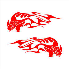 Rhino Running Tribal Flame Setof2 Decal Stickers 13x4.7