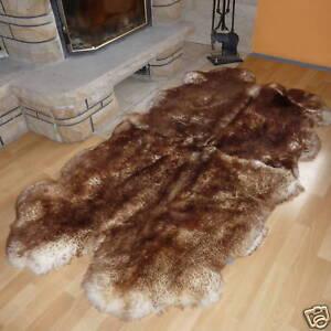 Schaffellteppich, Schaffell Teppich, geflammt, Größe ca 200x120cm / aus 4 Fellen