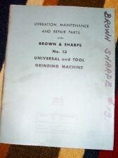 Brown&Sharpe Operator Manual~No. 13 Grinding Machine