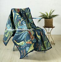 Indian Quilted Bird Print Kantha Sofa Throw Cotton Bed Blanket Large Bedding