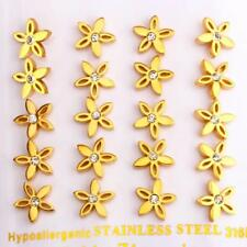 WOMENS HYPOALLERGENIC S STEEL GOLD COLOURED CZ FLOWER/DAISY EARRINGS STUD 1 PAIR