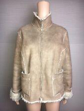 Women's Principles Brown Faux Sheepskin Fur Lined Jacket Coat UK Size 18 Euro 46