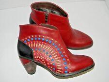 L'ARTISTE Rhapsody Ankle Boots Red/Black Sun Burst Leather Stitch EU 39 US 8.5