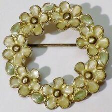 broche bijou style vintage couronne fleur émail base couleur argent * 5301