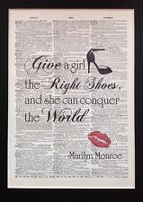 Marilyn Monroe ..Girl ..right Shoes A4 Size Gift  Antique Dictionary Page Art
