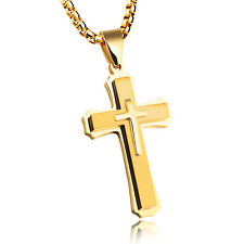 Mens Stainless Steel Gold Silver Black Cross Necklace Crucifix Square Rolo Chain