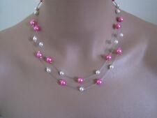 Collier perle Blanc/Rose Fuchsia p robe de Mariée/Mariage/Soirée pas cher