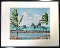 Wall Fine Art Giclee Print Windy Florida West Key Beach Landscape Signed Framed