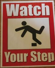 "2x Watch Your Step sign water resistant self adhesive stickers 11"" x 8.5"""