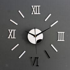 Maison Salle Horloge Murale Silencieux Numérique Sticker Miroir 3D Autocollant