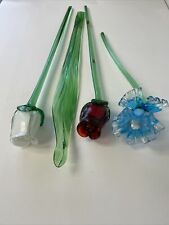 """New listing ART GLASS LONG STEM GLASS FLOWERS AND LEAVES (19 1/2"""" and one 14"""")"""