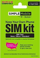🔥 Sim Card $25 Plan Simple Mobile T-Mobile Sim Card 1 Month, Plan de Teléfono.